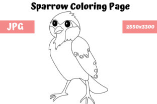 Print on Demand: Coloring Page for Kids - Sparrow Graphic Coloring Pages & Books Kids By MyBeautifulFiles