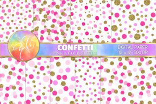 Confetti Digital Paper, Pink and Gold Graphic Backgrounds By paperart.bymc