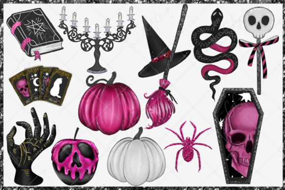 Print on Demand: Cute Halloween Clipart Set Graphic Illustrations By TheGGShop - Image 4