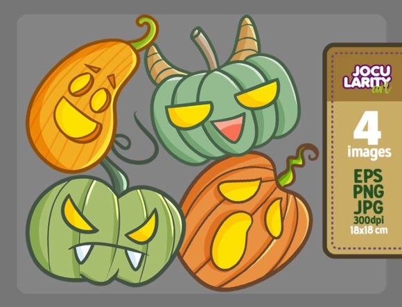 Cute Kawaii Scary Pumpkins for Halloween Graphic Illustrations By JocularityArt