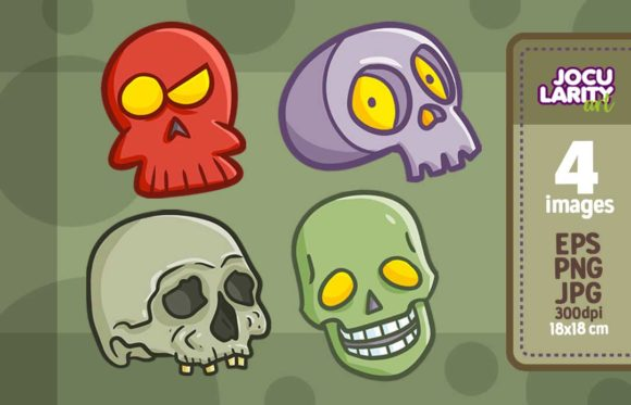 Print on Demand: Cute Skull Expression for Halloween Graphic Illustrations By JocularityArt