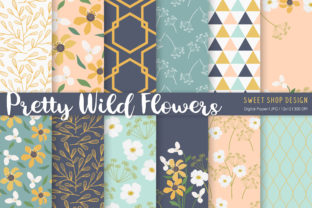 Digital Paper Pretty Wild Flowers Graphic Patterns By Sweet Shop Design
