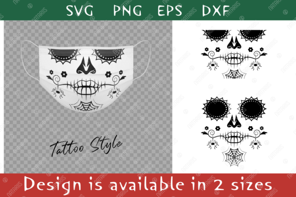 Elegant Sugar Skull Spider for Face Mask Graphic Crafts By Natariis Studio