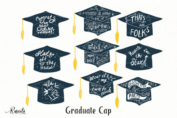 Graduate Cap with Quotes Graphic Illustrations By Rasveta