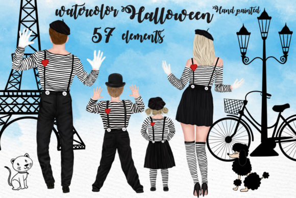 Halloween Family Clipart Matching Outfit Graphic Illustrations By LeCoqDesign