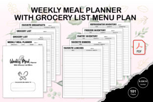 Print on Demand: KDP Weekly Meal Planner and Grocery List Graphic KDP Interiors By TripleBcraft