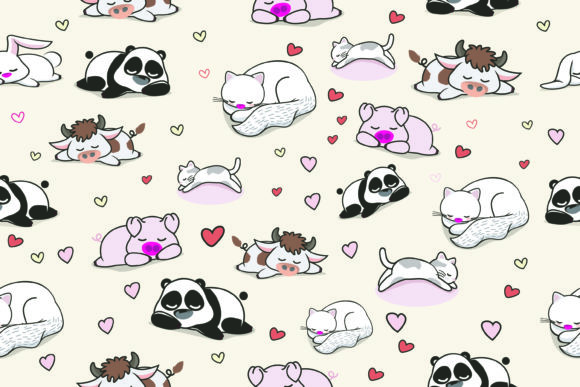 Lazy Cute Animal Vector Pattern Graphic Patterns By onoborgol