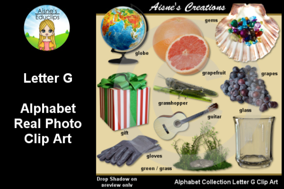 Print on Demand: Letter G Photo Clip Art Graphic Teaching Materials By Aisne Educlips