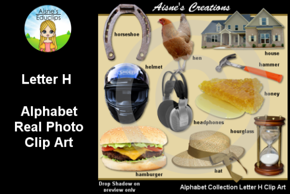 Print on Demand: Letter H Photo Clip Art Graphic Teaching Materials By Aisne Educlips