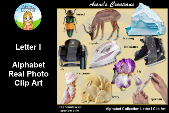 Print on Demand: Letter I Photo Clip Art Graphic Teaching Materials By Aisne Educlips