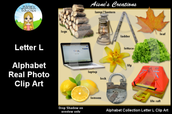Print on Demand: Letter L Photo Clip Art Graphic Teaching Materials By Aisne Educlips