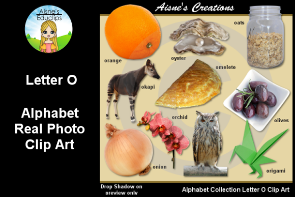 Print on Demand: Letter O Photo Clip Art Graphic Teaching Materials By Aisne Educlips
