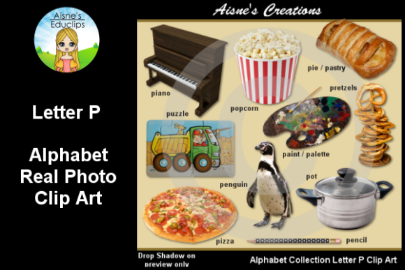 Print on Demand: Letter P Photo Clip Art Graphic Teaching Materials By Aisne Educlips