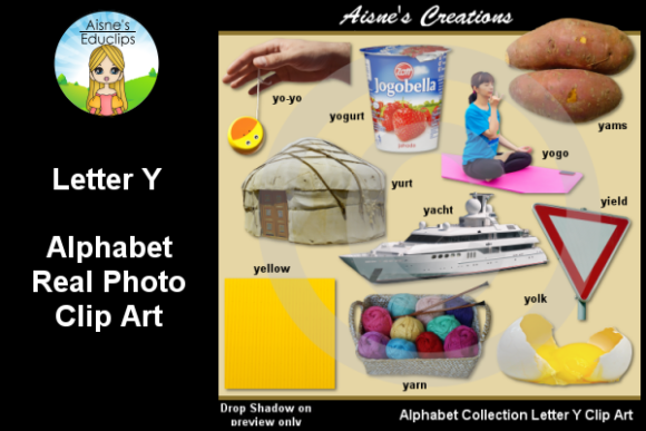 Print on Demand: Letter Y Photo Clip Art Graphic Teaching Materials By Aisne Educlips