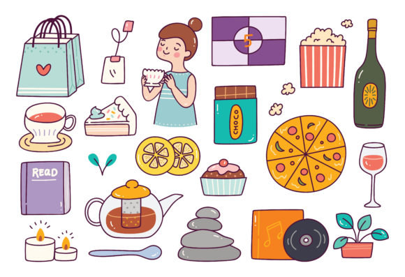 Me Time Object in Doodle Style Graphic Illustrations By Big Barn Doodles