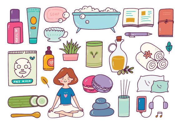 Me Time Object in Doodle Style Illustrat Graphic Illustrations By Big Barn Doodles