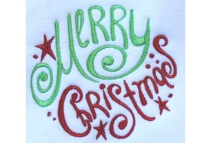 Merry Christmas Oval Design - 5x7 Christmas Embroidery Design By Thread Treasures Embroidery