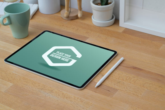 Mockup Tablet on Wooden Table Graphic