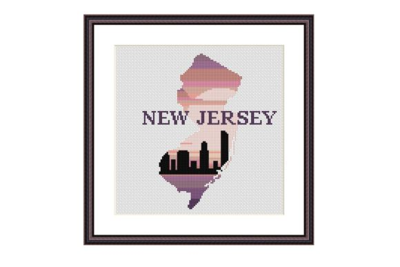 New Jersey Map Silhouette Cross Stitch Graphic Cross Stitch Patterns By e6702