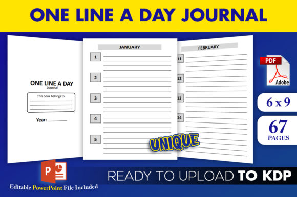 Print on Demand: One Line a Day Journal KDP Interior Graphic KDP Interiors By Beast Designer