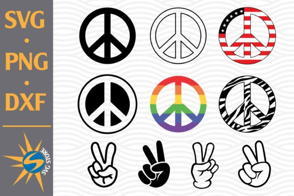 Peace Sign and Victory Hand Graphic Crafts By SVGStoreShop