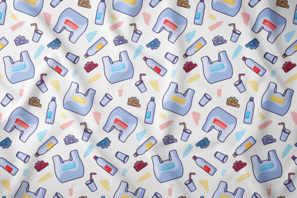 Print on Demand: Plastic Waste Seamless Pattern Graphic Patterns By barsrsind