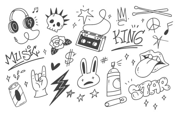 Set of Graffiti Doodle Punk Music Graphic Illustrations By Big Barn Doodles