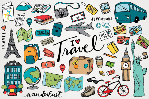 Travel Clipart Hand Drawn Illustrations Graphic Illustrations By LemonadePixel
