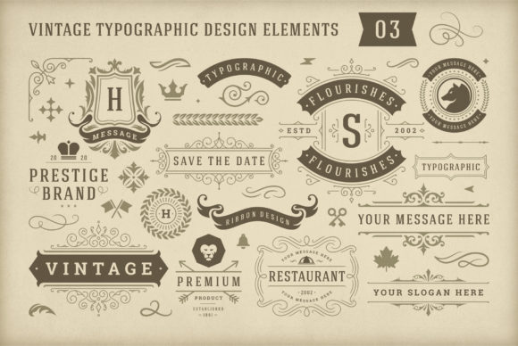 Vintage Typographic Design Elements Graphic Objects By vasyako1984