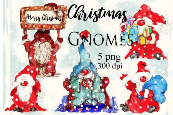 Watercolor Christmas Gnomes Pack Graphic Illustrations By arevkasunshine