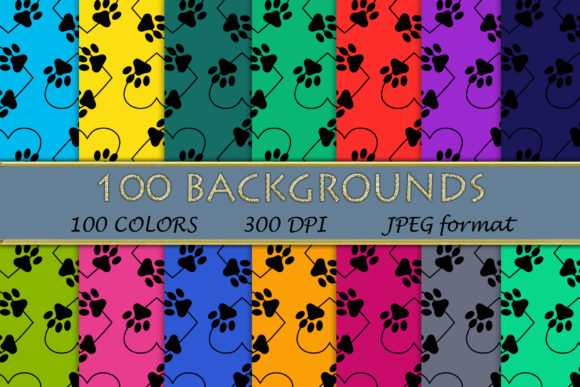 100 Dog Paw Heart Pattern Digital Papers Graphic Backgrounds By SweetDesign
