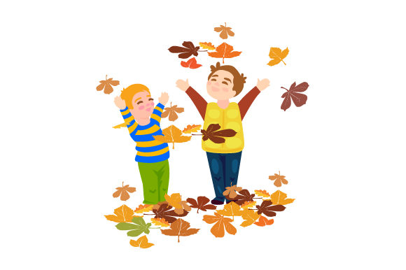 Kids Playing in Leaves Fall Craft Cut File By Creative Fabrica Crafts
