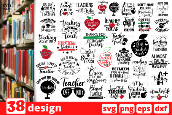 Print on Demand: 38 Designs Teacher Graphic Crafts By SvgOcean