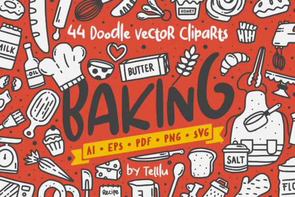 Print on Demand: Baking Doodle Vector Clipart Graphic Illustrations By Telllu