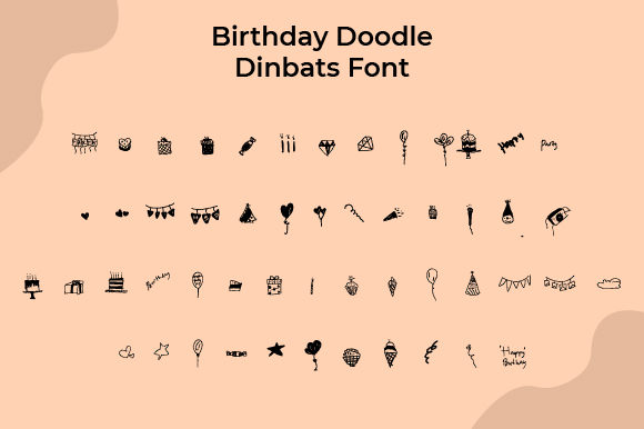 Print on Demand: Birthday Doodle Dingbats Font By Yafont
