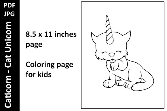 Caticorn -Cat Unicorn - 3 Activity Pages Graphic Download