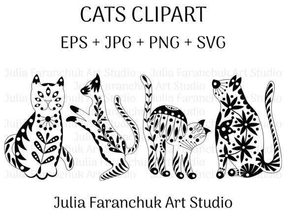 Print on Demand: Cats Clipart Graphic Illustrations By Julia Faranchuk Art Studio