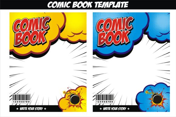 Comic Book Cover Template from www.creativefabrica.com