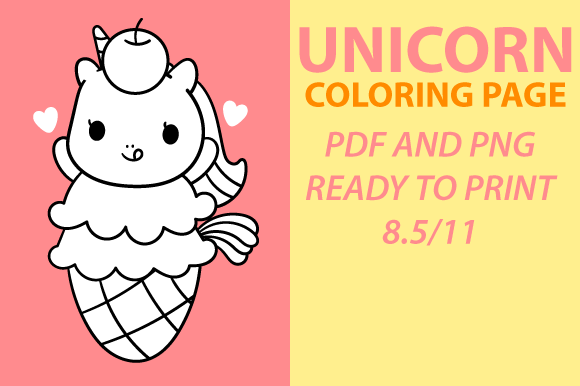 Print on Demand: Cute Kawaii Unicorn Coloring Page Graphic Coloring Pages & Books Kids By Mah Moud