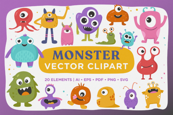 Print on Demand: Cute Monster Vector Clipart Pack Graphic Illustrations By Telllu