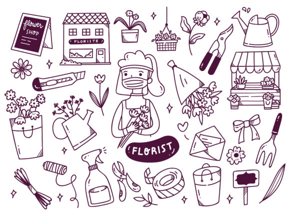 Florist Wearing Face Mask Graphic Illustrations By Big Barn Doodles