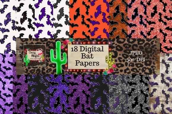 Print on Demand: Halloween Bat Digital Papers Glitter Graphic Objects By Crazy Heifer Design Shoppe
