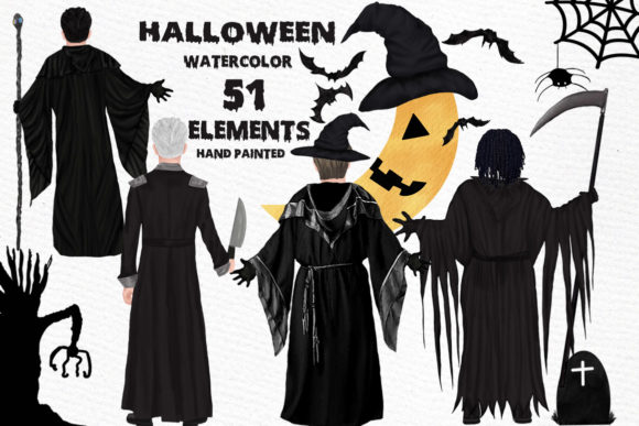 Halloween Clipart Wizard Clipart Graphic Illustrations By LeCoqDesign
