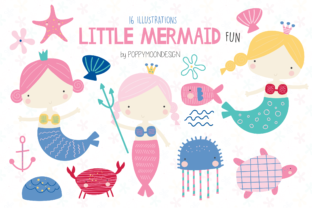 Print on Demand: Little Mermaid Fun Clipart Graphic Illustrations By poppymoondesign