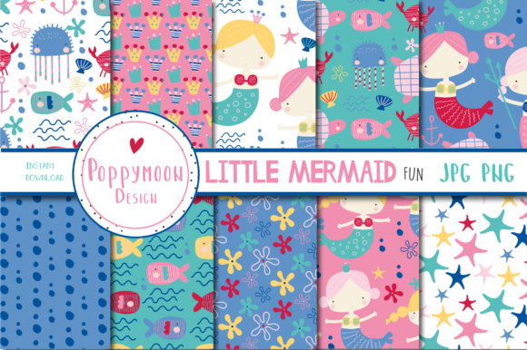 Print on Demand: Little Mermaid Fun Paper Graphic Patterns By poppymoondesign