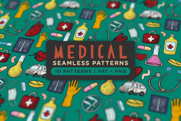 Print on Demand: Medical Seamless Patterns Graphic Patterns By Telllu
