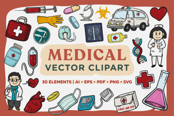 Print on Demand: Medical Vector Clipart Pack Graphic Illustrations By Telllu