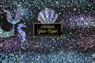 Print on Demand: Mermaid Glitter Clipart Graphic Illustrations By Digital Curio