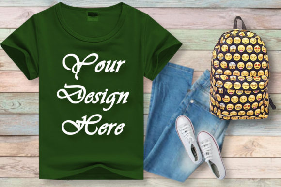 Mock Ups Kids Green T-shirt, School Graphic Product Mockups By MockupsByGaby