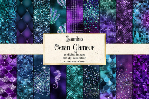 Print on Demand: Ocean Glamour Digital Paper Graphic Illustrations By Digital Curio